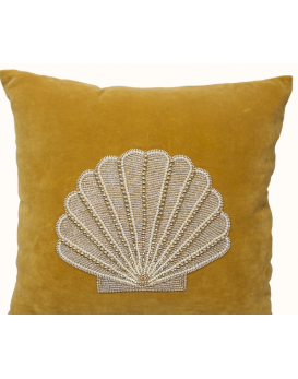 Coussin velours coquillage